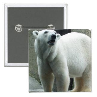 White Polar Bear Square Button