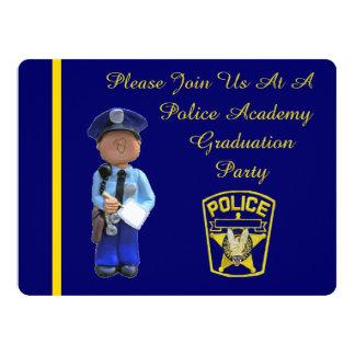 White Police Academy Graduation Party Invitation