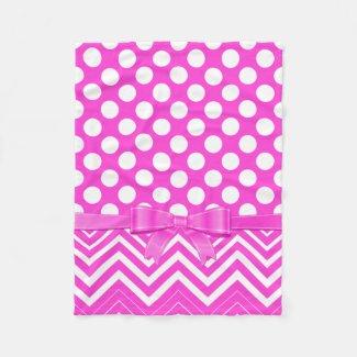 White Polka Dot And Chevron And Pink Ribbon Fleece Blanket