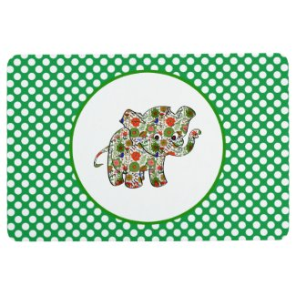 White Polka Dot And Floral Elephant