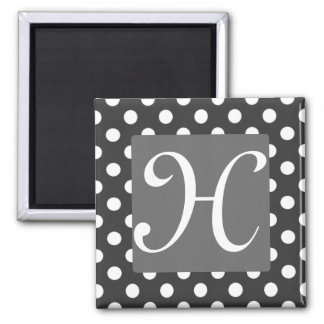 White Polka-Dot and Grey Scale Monogram Magnet