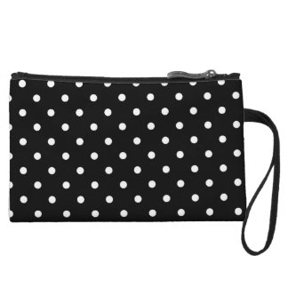 White Polka Dot Black Mini Clutch