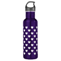 White Polka Dot Hearts Stainless Steel Water Bottle