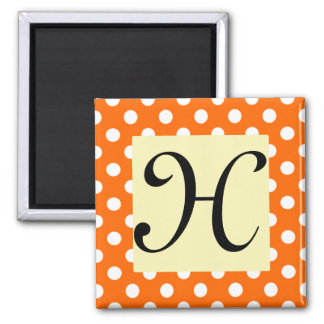 White Polka-Dot Monogram Magnet - Orange