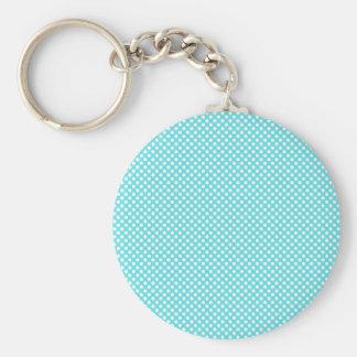 White Polka Dot On Blue Key Chain