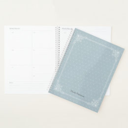 White Polka Dot on Country Blue with Name Planner