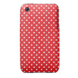 White polka dot on red background iPhone 3 cover