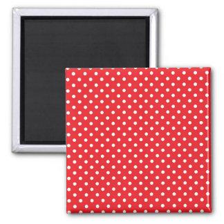 White polka dot on red background magnet