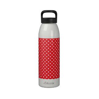 White polka dot on red background water bottle