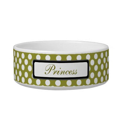 White Polka Dot Pattern Olive Custom Name Pet Bowl