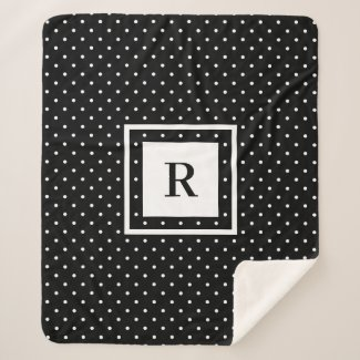 White Polka Dot Pattern on Black Modern Monogram Sherpa Blanket