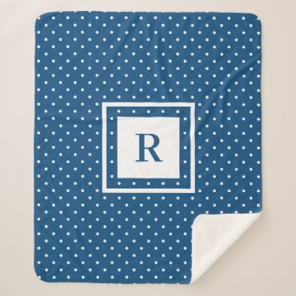 White Polka Dot Pattern on Blue Modern Monogram Sherpa Blanket