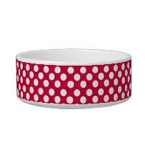 White Polka Dot Pattern on Red Dog or Cat Pet Bowl