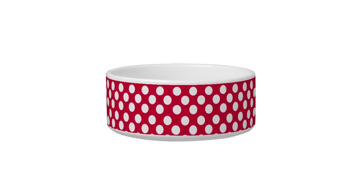 White Polka Dot Pattern On Red Dog Or Cat Pet Bowl Zazzle