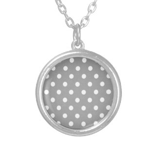 White Polka dot s on gray background Silver Plated Necklace