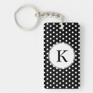White Polka Dots Against Black Retro Pattern Keychain