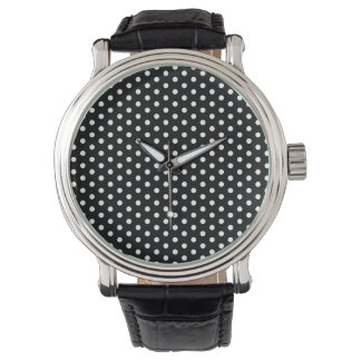 White Polka Dots Against Black Retro Pattern Wrist Watch
