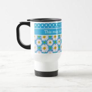 White Polka Dots and Daisies on Sky Blue Travel Mug