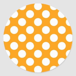 White Polka Dots Any Color change Classic Round Sticker