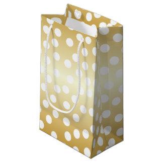 White Polka Dots Gold Coloured Small Gift Bag