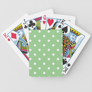 White Polka Dots Green Background Bicycle Poker Deck