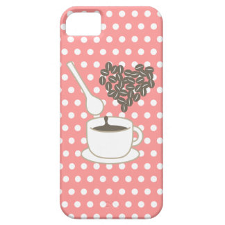 White Polka Dots I love Coffee Pink iPhone 5 Cases
