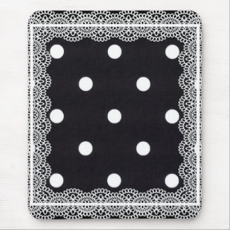White Polka Dots/Lace Mouse Pad