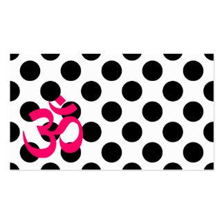 White Polka Dots Om Symbol Business Card
