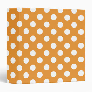 White polka dots on amber 3 ring binder