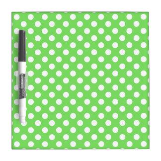 White polka dots on apple green dry erase board