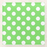 "White polka dots on apple green glass coaster<br><div class=""desc"">White polka dots on apple green</div>"