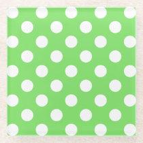 White polka dots on apple green glass coaster