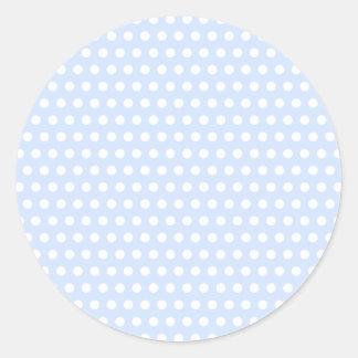 White Polka Dots on Baby Blue Classic Round Sticker