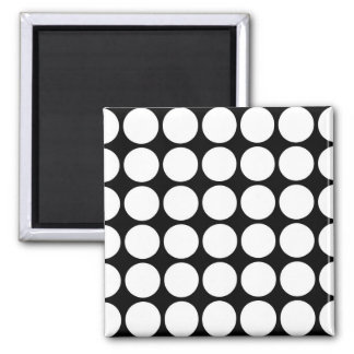 White Polka Dots on Black 2 Inch Square Magnet