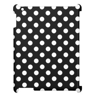 White Polka Dots on Black Background iPad Cases