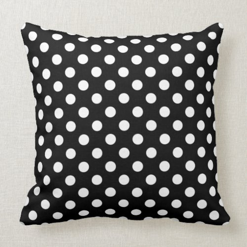 White Polka Dots on Black Background Throw Pillow