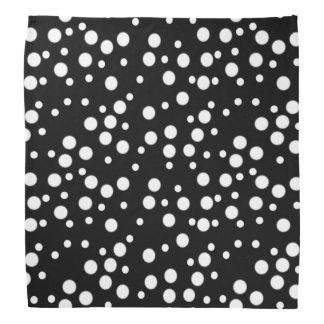 White Polka Dots on Black Bandana