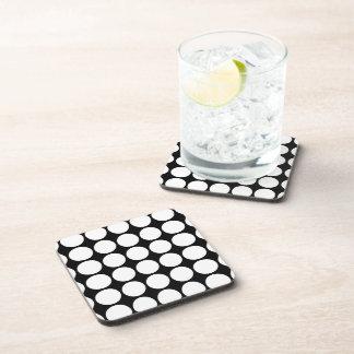 White Polka Dots on Black Beverage Coaster