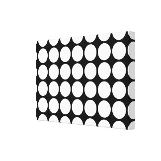 White Polka Dots on Black Canvas Print