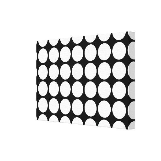 White Polka Dots on Black Canvas Print