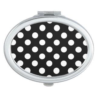 White polka dots on black compact mirror