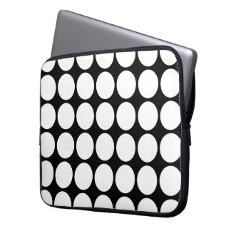 White Polka Dots on Black Computer Sleeve