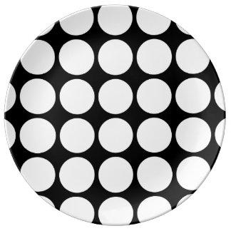 White Polka Dots on Black Dinner Plate