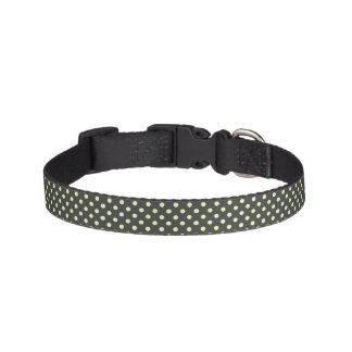 White Polka Dots on Black Dog Collar