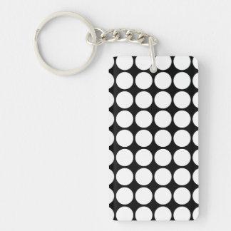 White Polka Dots on Black Double-Sided Rectangular Acrylic Keychain