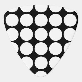 White Polka Dots on Black Guitar Pick