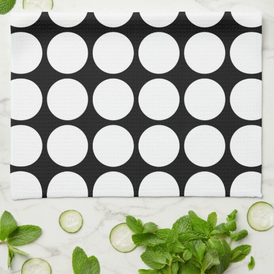 White Polka Dots on Black Hand Towels