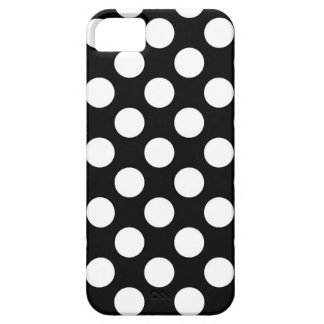 White Polka Dots on Black iPhone SE/5/5s Case
