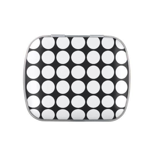 White Polka Dots on Black Jelly Belly Tins