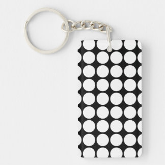 White Polka Dots on Black Rectangular Acrylic Key Chain